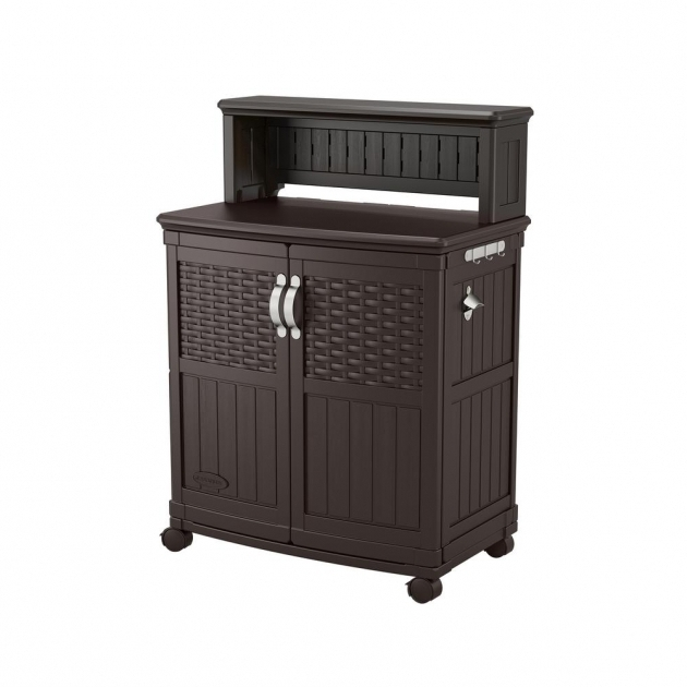 Image of Suncast Patio Storage And Prep Station Bmps6400 The Home Depot Home Depot Outdoor Storage Cabinets