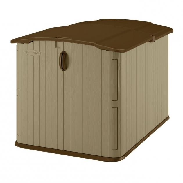 Inspiring Suncast Glidetop 6 Ft 8 In X 4 Ft 10 In Resin Storage Shed Home Depot Outdoor Storage Cabinets