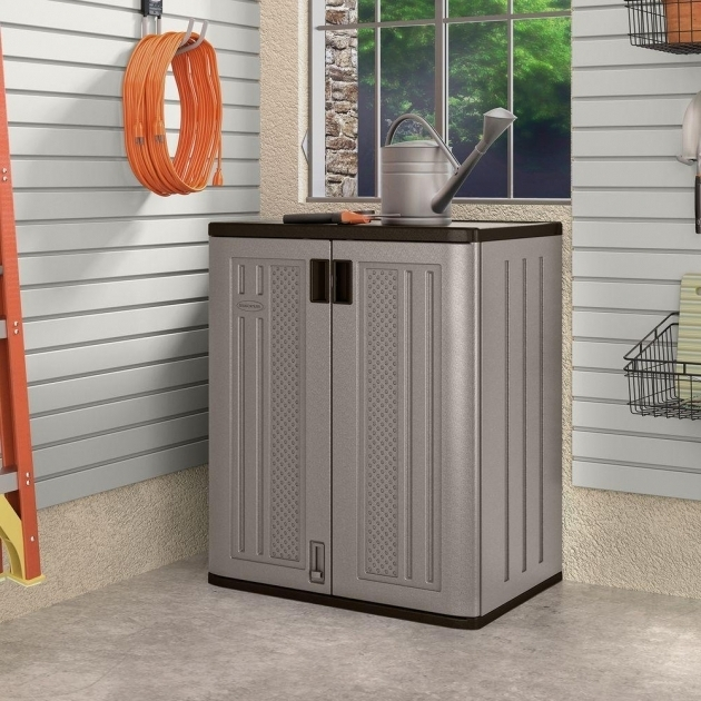 Outstanding Suncast 30 In X 36 In 2 Shelf Resin Base Storage Cabinet In Home Depot Outdoor Storage Cabinets